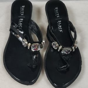 Stylish Black Sequined WHBM Wedge Sandals